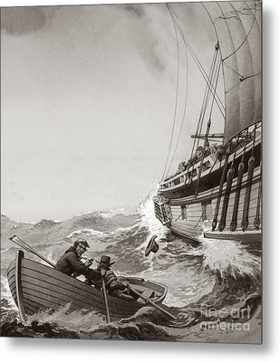 Two King's Messengers Attempt To Row Into The Harbor At Calais  Metal Print by Pat Nicolle