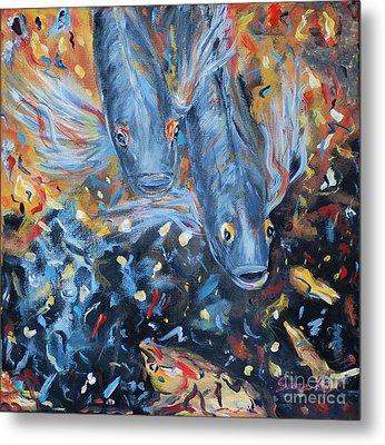 Two Koi Fish. Painting.  Collection 2015 Metal Print by Oksana Semenchenko