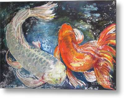 Metal Print featuring the painting Two Koi by Susan Herbst