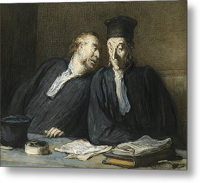 Two Lawyers Conversing Metal Print by Honore Daumier
