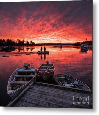 Two Lobstermen At Sunrise Metal Print