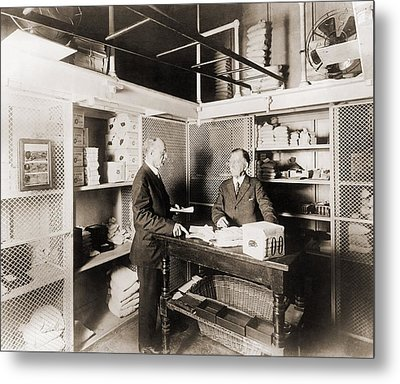 Two Men In Vault At The Treasury Metal Print by Everett