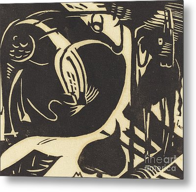 Two Mythical Animals Metal Print by Franz Marc