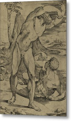 Two Nude Men  One Standing, One Reclining Metal Print by Domenico Beccafumi