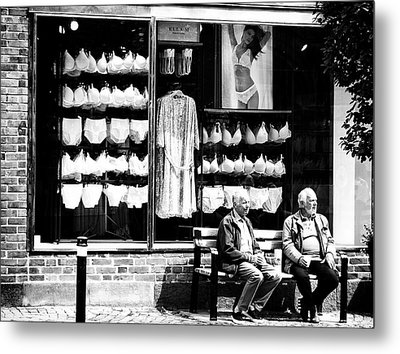 Two Old Men And Lingerie Metal Print by Karen Stahlros