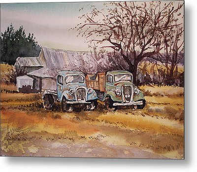 Two Old Trucks Metal Print