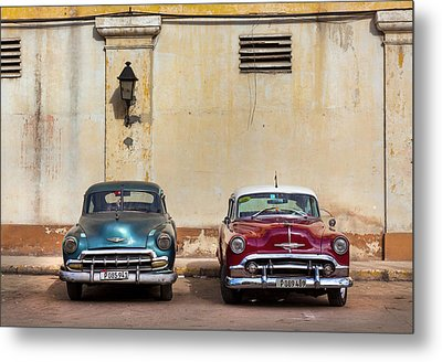 Metal Print featuring the photograph Two Old Vintage Chevys Havana Cuba by Charles Harden