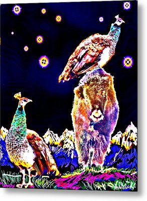 Two Peacocks And A Yak Metal Print by Anastasia Savage Ealy