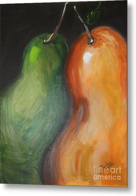Metal Print featuring the painting Two Pears by Jolanta Anna Karolska
