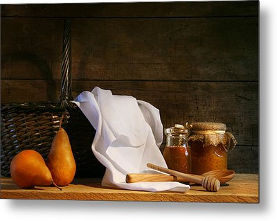 Two Pears With White Cloth Metal Print by Sandra Cunningham