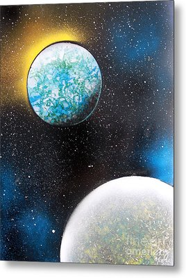Metal Print featuring the painting Two Planets by Greg Moores