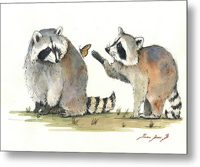 Two Raccoons Metal Print by Juan Bosco