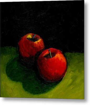 Two Red Apples Still Life Metal Print by Michelle Calkins