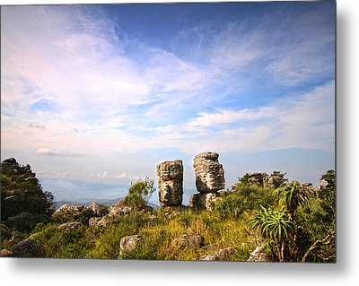 Two Rock Pinacles And Sky Landscape Photograph With Footpath At Kaapsehoop Metal Print by Jan Van der Westhuizen