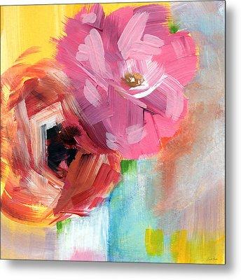Two Roses- Art By Linda Woods Metal Print by Linda Woods