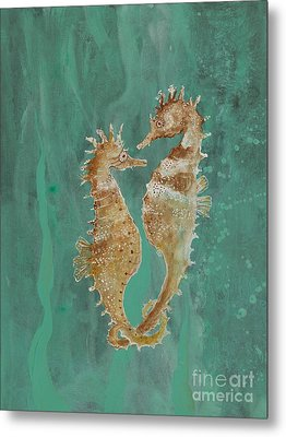 Two Seahorse Lovers Metal Print by Robin Maria Pedrero