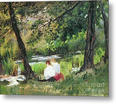 Two Seated Women Metal Print by Mary Stevenson Cassatt