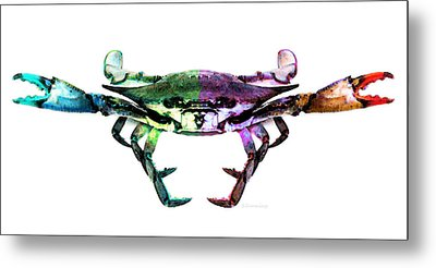 Two Sides - Duality Crab Art Metal Print by Sharon Cummings