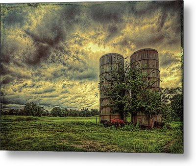 Metal Print featuring the photograph Two Silos by Lewis Mann