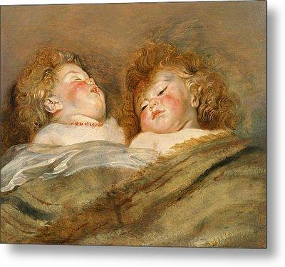 Two Sleeping Children Metal Print by Peter Paul Rubens