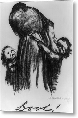 Two Small Children Begging Mother Metal Print by Everett