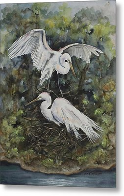 Two Snowy Egrets Metal Print by Laurie Tietjen