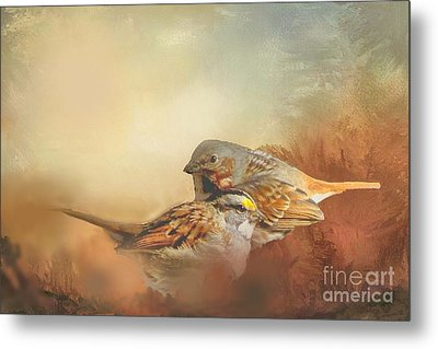 Sparrows In The Marsh 2 Metal Print