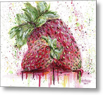 Two Strawberries Metal Print by Arleana Holtzmann