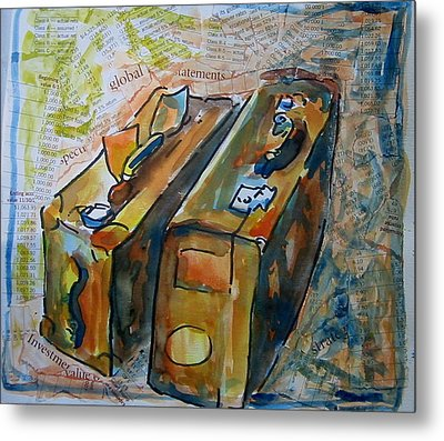 Two Suitcases With Financial Statements Metal Print by Tilly Strauss