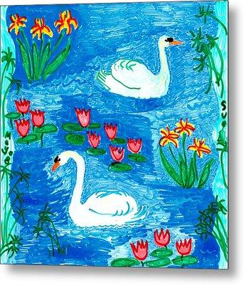 Two Swans Metal Print by Sushila Burgess