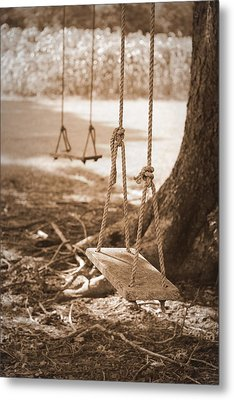 Two Swings - Sepia Metal Print by Beth Vincent