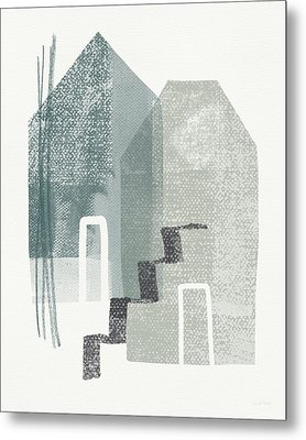 Two Tall Houses- Art By Linda Woods Metal Print