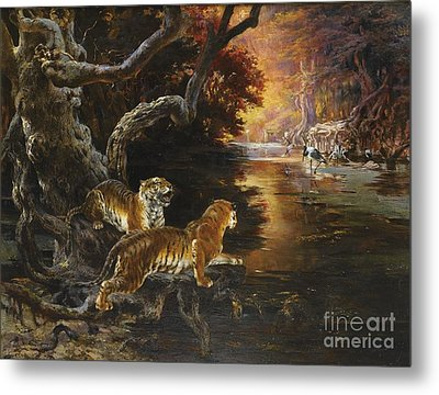 Two Tigers On The Hunt Metal Print