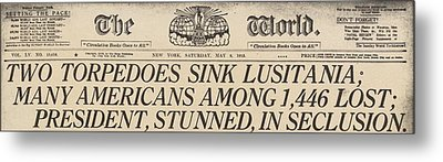 Two Torpedoes Sink Lusitania Many Metal Print by Everett