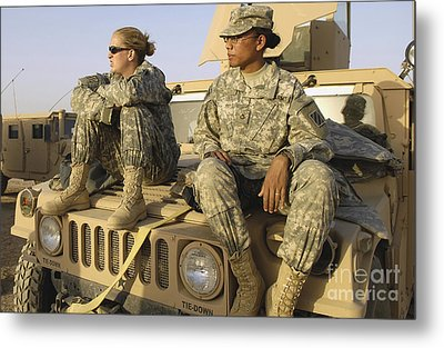 Two U.s. Army Soldiers Relax Prior Metal Print by Stocktrek Images