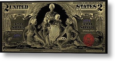 Metal Print featuring the photograph Two U.s. Dollar Bill - 1896 Educational Series In Gold On Black  by Serge Averbukh
