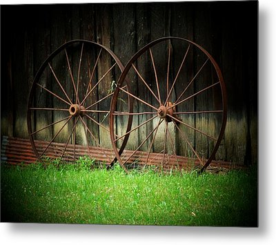 Two Wagon Wheels Metal Print by Michael L Kimble