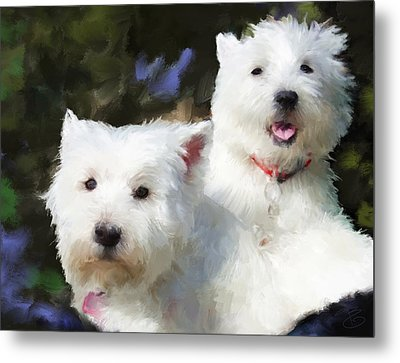 Two Westies Metal Print