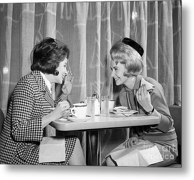 Two Women Gossiping At Lunch, C.1960s Metal Print