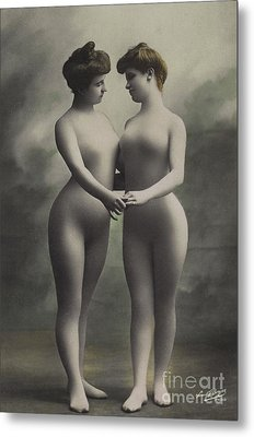 Two Women In Bodystockings Metal Print