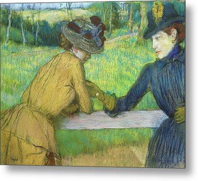 Two Women Leaning On A Gate Metal Print by Edgar Degas