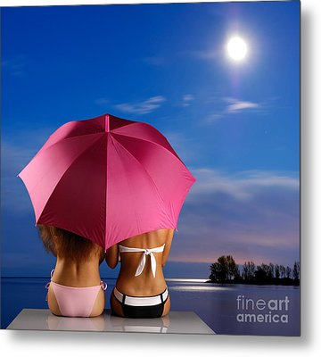 Two Women Relaxing On A Shore Metal Print by Oleksiy Maksymenko