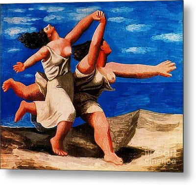 Two Women Running On The Beach Metal Print