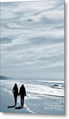 Two Women Walking At The Beach In The Winter Metal Print by Jose Elias - Sofia Pereira