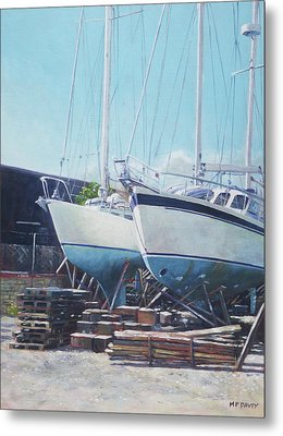 Metal Print featuring the painting Two Yachts Receiving Maintenance In A Yard by Martin Davey