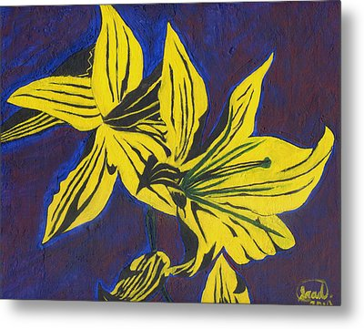 Metal Print featuring the painting Two Yellow Lilies by Saad Hasnain