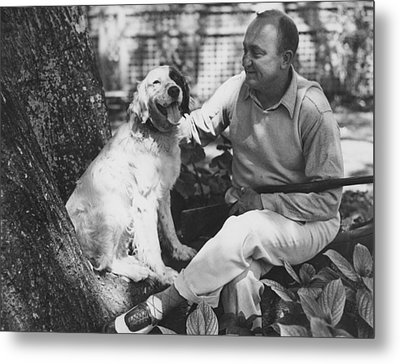 Ty Cobb With His Dog Metal Print