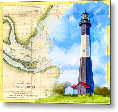 Tybee Island Light - Vintage Nautical Map Metal Print