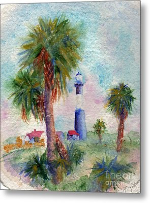 Tybee Lighthouse And Palms Metal Print
