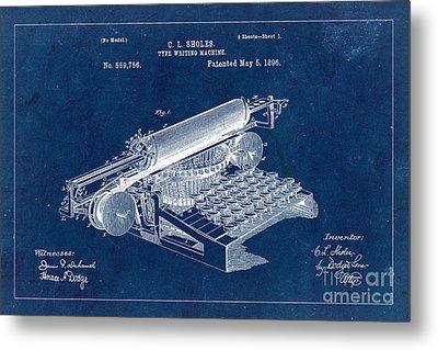 Type Writing Machine Patent From 1896 - Blue Metal Print
